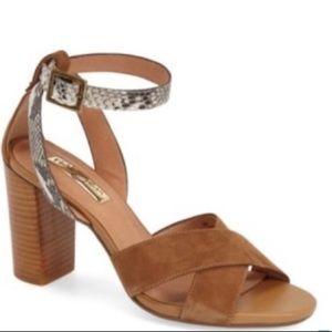 Halogen suede and snakeskin sandals